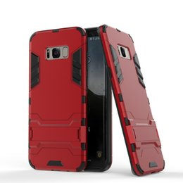 Wholesale Iron Man Casing - For iphone 8 Hybrid Armor Iron Man Shockproof Case 2 in 1 TPU+PC Hybrid Silicone Ironman Skin Holder Case for iphone 7 6s for Samsung S8 S7