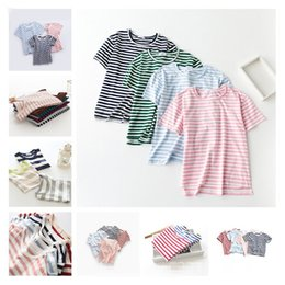 Wholesale Toddler Boys Shorts Pattern - Striped short sleeves tshirts kids shirts toddler clothes summer clothing boys and girls Tops Tees print stitching patterns 1256