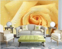 Wholesale Tv Wall Drop - Yellow Rose Water Drops Background mural 3d wallpaper 3d wall papers for tv backdrop