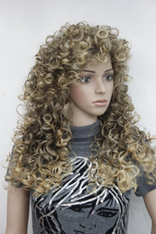 "Wholesale Long Sexy Hair Wigs - 2017 super new fashion sexy Brown mix golden blonde tip loose curly 24"" long synthetic wave hair full wig"