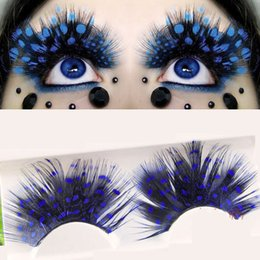 Wholesale Black Feather Eyelashes - Feather False Eyelashes Masquerade Ballet Artistic Exaggeration Thick Fake Eye Lashes Black + Blue Dot Feather Eyelashes