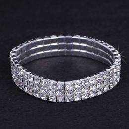 Wholesale Accessory Jewelry Wholesale China - 12 pieces Lot 3 Row Bridal Wedding Jewelry Elastic Crystal Rhinestone Stretch Gold Bangle Bracelet Wholesale Wedding Accessories for Women