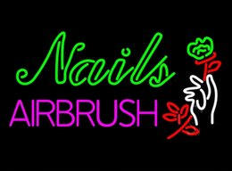 Wholesale Neon Signs Nails - Fashion New Handcraft NEW Nails Airbrush With Flower Real Glass Beer Bar Pub Display neon sign 19x15!!!Best Offer!