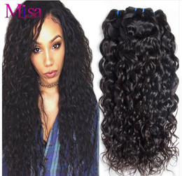 Wholesale 28 Water Wave Hair Extension - 8A Water Wave Hair Extensions 3 4 bundles Peruvian Brazilian Indian Malaysian Mongolian Virgin Human Hair Bundle Natural Water Wave Weaves