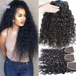 Wholesale Lace Closures Peruvian Wavy Hair - Wet and Wavy Brazilian Virgin Hair Bundles with Lace Closure Brazilian Water Wave Human Hair Weave Peruvian Hair 3 Bundles with Closure