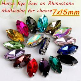 Wholesale Red Eye Love - 7x15mm 100Pcs Horse Eye Shape Sew On Rhinestones Silver Base 4 Claws DIY Accessories Multicolor Choose