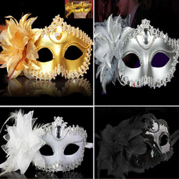 Wholesale Carnival Eye Masks - Party Masks 4 Color Halloween Lace Flower Venetian Party Masquerade Ball Carnival Eye Masks Party Makeup Costume Princess Masks Gifts WX-C05