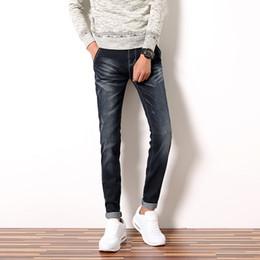 Wholesale Blue Denim Skinny Jeans - Wholesale-2016 Fashion Brand Men Jeans Pant Korean Trend Skinny Denim Casual Pants Plus Size 28-38 Black Blue Ripped Male Jeans Trousers