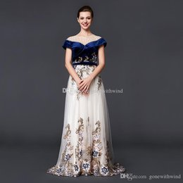 Wholesale Tulle Nude Bodice - real photos Arab Dubai off the shoulders evening dresses 2018 velvet bodice tulle skirt heavily embroidery crystals beaded evening gowns