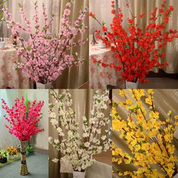 Wholesale Artificial Red Branches - 100Pcs Artificial Cherry Spring Plum Peach Blossom Branch Silk Flower Tree For Wedding Party Decoration white red yellow pink color