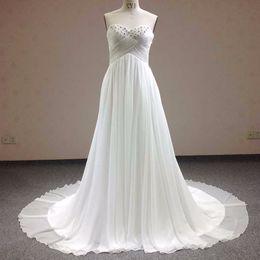 vestido de chiffon branco plissado Desconto Querida sem mangas sem encosto vestidos de noiva em forma de cruz plissado frisado de cristal branco lace tribunal treinar vestido de noiva lace up vestidos de casamento