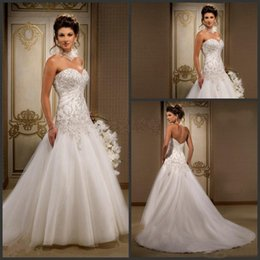 Wholesale Dropped Waist Beaded Wedding Dress - Wedding Dresses with Beaded Embroidery Sweetheart Low Back Dropped Waist Court Train Ruffled Tulle Bridal Gowns A-Line Wedding Dress