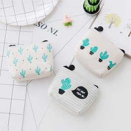 Wholesale Wholesale Mini Cacti - Cute Canvas Wallet Women Zipper Purse Fashion Mini Cacti Printing Coin Storage Bag Portable 2 1lc C R