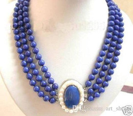 Wholesale Lapis Pearl Jewelry - Charming Jewelry 3Row Real Lapis Lazuli white pearl clasp Necklace