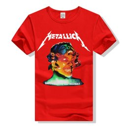 Wholesale T Shirts For Men Lycra - Metallic Hardwired Self-Destruct Heavy Metal Band Rock Short Sleeve T-Shirt Multiple Faces Tee Special for Men Women