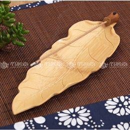 2019 ione umidificatore a ultrasuoni All'ingrosso- bruciatore di incenso di legno cinese fatti a mano unici titolari di incenso foglie forma decorazione della casa soggiorno regalo incensiere
