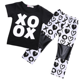 Wholesale T Ox - 2Pcs Fashion Baby Kids Girls Outfits OX T-shirt Pants Leggings Clothes Set Heart PU Knee Trousers 1-6T Kid Sport Clothing Wholeasle Toddler