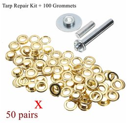 Wholesale Brass Repair - XNEMON 100PCS Punch Grommets Tarp Repair Kit Set Hole Eyelet Tarpaulin Awning Tent Brass Coated Hand tools
