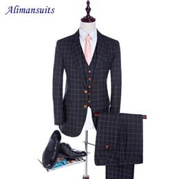 Wholesale Tuxedo Suits Tailored - Wholesale- New Wool Blend Navy Blue Plaid Men Suits Slim Fit Wedding Suit For Men's Tailor Made Suit Groom Man Tuxedos (Jacket+Pants+Vest)