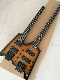 Wholesale Headless Bass Guitars - Wholesale-Best Double Neck Headless Electric Guitar & Bass Combo with Flamed maple top,Double Neck Guitarra,Black HardwareReal photo