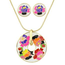 Wholesale Pink Indian Style Earrings - Boho Style Jewelry Sets Gold Chain with Colorful Enamel Flower Print Round Pendant Necklace and Round Stud Earrings