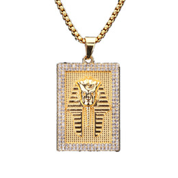 75cm chain Coupons - Fashion Men Jewelry Gold Chains Necklace Square Pendant Design Filling Pieces Hip Hop Necklace For Chain Length 75cm