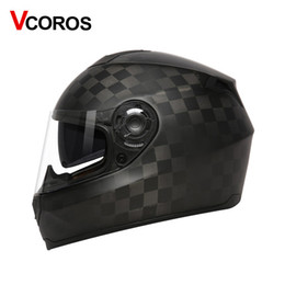 Wholesale Ece Motorcycle Full Face Helmet - VCOROS Carbon Fiber Motorcycle Helmet 3K 12K 24K Men Full Face racing Motorbike Helmets dual lens visor ECE moto helmets