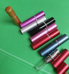 Wholesale Mini Sprayer Perfume - 1Pieces 5ml Refillable Portable Mini Perfume Bottle Atomizer Spray &Traveler Aluminum Empty Parfum Bottle Free Shipping