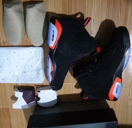 Wholesale Gs Sizes - Infrared 6s Wholesale Black BG GS OG VI Infrared Red Basketball Shoes Men Women Size With Box