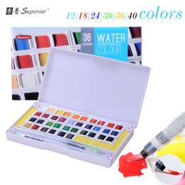 Wholesale 24 36 Painting - superior 12 18 24 30 36 40 colors Solid Watercolor Paints Half Pans Pigment Set For Artist Drawing Art Supplies brush pen