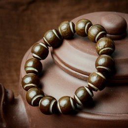 Wholesale Wood Beads 15mm - 15mm Natural Bodhi Root Lantern Prayer Beads Bracelets for women men Buddha Rosary Wooden Bangle Buddhist Jewelry ethnic style J1229