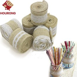 джутовые ленты оптом Скидка Wholesale-a Roll Length 2M 5cm Width White Lace Natural Burlap Ribbon Jute Roll Vintage Christmas Wedding Decoration Craft Gift Wrapping