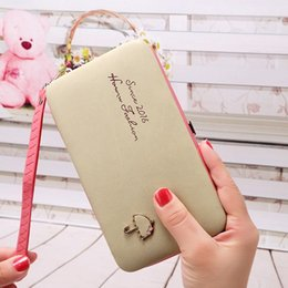 Wholesale Phone Clutch Zip Purse - hot sale New Fashion universal embossed letters umbrella cell phone bag large zip around lady clutch box purse wallet