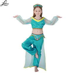 Wholesale Belly Dance Costumes Children - Girls Aladdins Lamp Jasmine Princess Costumes Cosplay For Children Halloween Party Belly Dance Dress Indian Princess Costume