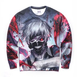 Wholesale Long Hoody Cheap - Wholesale-2016 Newest Tokyo Ghoul Hoodies Mens Hooded Pullovers Ken Kaneki Printed Male Hoody 3D Printing Cheap Hoodies