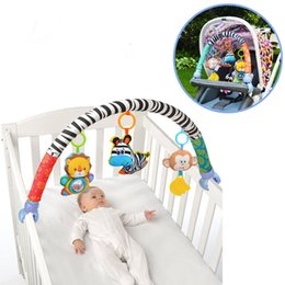 Wholesale Baby Toy Doll Stroller - Wholesale- Baby Toys Crib Stroller Toy Cute Newborn Hanging Baby Rattle Ring Bell Soft Bed Pram Music Toy Bed Stroller Car Hanging Dolls