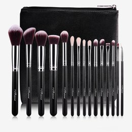 Wholesale Leather Makeup Brush Case - MSQ 15pcs Professional Makeup Brushes Set Make Up Brushes High Quality Synthetic Hair  GOAT hair With PU Leather Case For Beauty