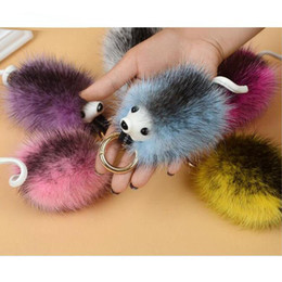 Wholesale Hedgehog Bags - New Fashion Colorful Fur Pom Pom Key Chain Lovely Hedgehog Keychain Faux Fox Fur Bag Car Ornaments Key Ring gifts Wholesale