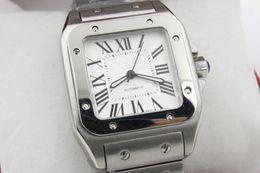 Wholesale Watch Xl Men - Luxury New Brand Men two tone 100 XL stainless steel Watch Automatic Mechanical Watch Silver Case Men's Sports original clasp WristWatches