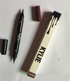 Wholesale Double Ended Eyeliners - Kylie Double-end Waterproof Double Sided Liquid Eyebrow Pen Eyeliner Eye Liner Pencil Makeup Cosmetic Tools Black+Brown with naked tarte