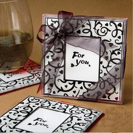 Wholesale Wood Drink Coasters - 2piece set Environmentally Square Frame Glass Cup Mat Wedding Cup Coaster Cup Cushion Holder Drink Placemat Pads Coffee Pad