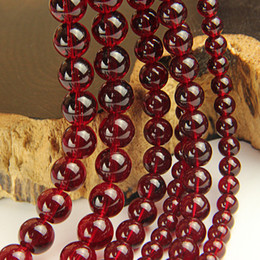 Wholesale Loose Garnet Beads - Wine Red Glass Beads Wholesale Imitation Garnet Round Loose Beads for Jewelry Making 4 6 8 10 12mm Glass Bead