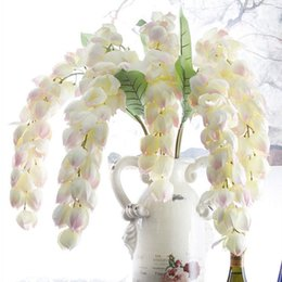 Wholesale Table Lanterns Wholesale - Fashion Big Lantern Flower Rattan Wisteria Vine Holiday Home Table Display Flower White Pink Purple Green in Stock Free Shipping
