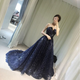 Wholesale Sparkle Long Party Dresses - Sparkling Navy Blue Sequined Long Evening Dress 2017 Real Photos Formal Party Prom Dresses Robe De Soiree V-neck Evening Gowns