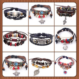 Wholesale Bird Clay - new Designs Leather Bracelet Antique Cross Anchor Love Peach Heart Owl Bird Believe Pearl Knitting Bronze Charm bracelets