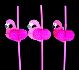 Wholesale Wholesale Pool Supply - 3D Flamingo Straw Bendy Flexible Plastic Drinking Straws Kids Birthday Wedding Pool Party Decoration Supplies