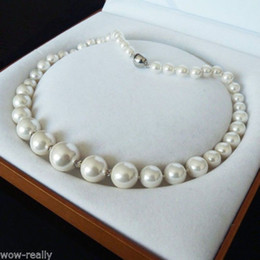 Wholesale 16mm South Sea Pearl Pendant - 8-16MM WHITE SOUTH SEA SHELL PEARL NECKLACE JEWELRY 18''
