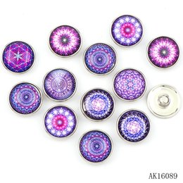 Wholesale Black Glass Charm Bracelet - New 12pcs High Quality 18mm Mixed Style Embroidery Floral Glass Metal Snaps buttons DIY Snap Charms Jewelry Bracelet&Bangle Finding