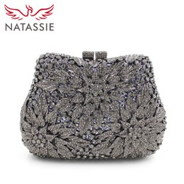 Wholesale Mini Gemstones - Wholesale-NATASSIE Fashion Crystal Clutch Bag Gemstone High Quality Lady Party Evening Handbag Women Mini Shoulder Purses With Chain