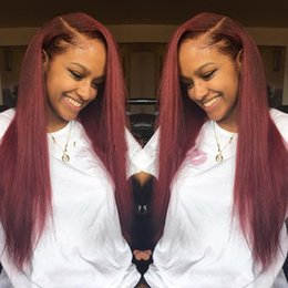 Wholesale 99j Lace Front Wigs - Side Part #99j Burgundy Glueless Full Lace Wig & Front Lace Wig Brazilian Silk Straight Human Hair Wigs Wine Red For Black Women